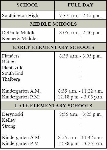 New School Academic Calendar >> School Hours - Southington Public Schools